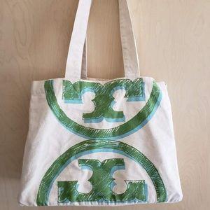 Tory Burch Logo Shopper Tote Bag Blue/Green